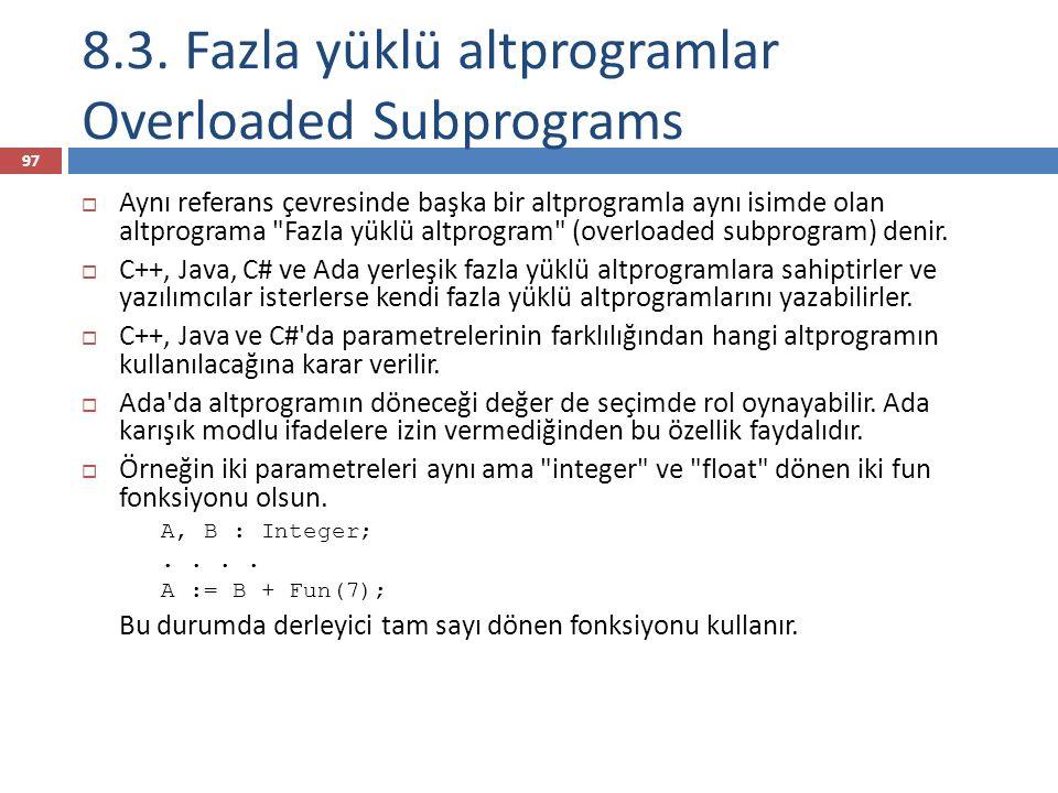 8.3. Fazla yüklü altprogramlar Overloaded Subprograms 97  Aynı referans çevresinde başka bir altprogramla aynı isimde olan altprograma