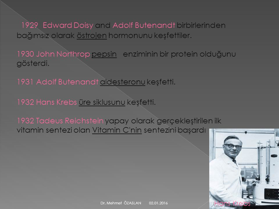 1929 Edward Doisy and Adolf Butenandt birbirlerinden bağımsız olarak östrojen hormonunu keşfettiler.
