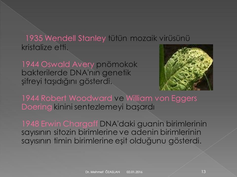 1935 Wendell Stanley tütün mozaik virüsünü kristalize etti.