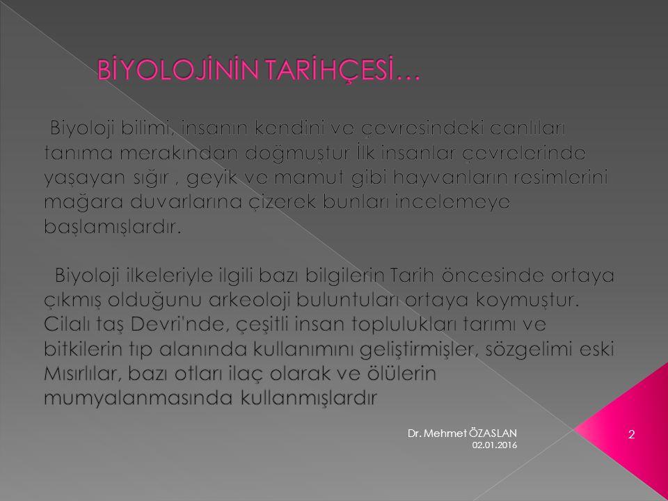 02.01.2016 2 Dr. Mehmet ÖZASLAN