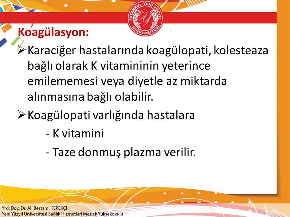 Koagülasyon:  Karaciğer hastalarında koagülopati, kolesteaza bağlı olarak K vitamininin yeterince emilememesi veya diyetle az miktarda alınmasına bağ