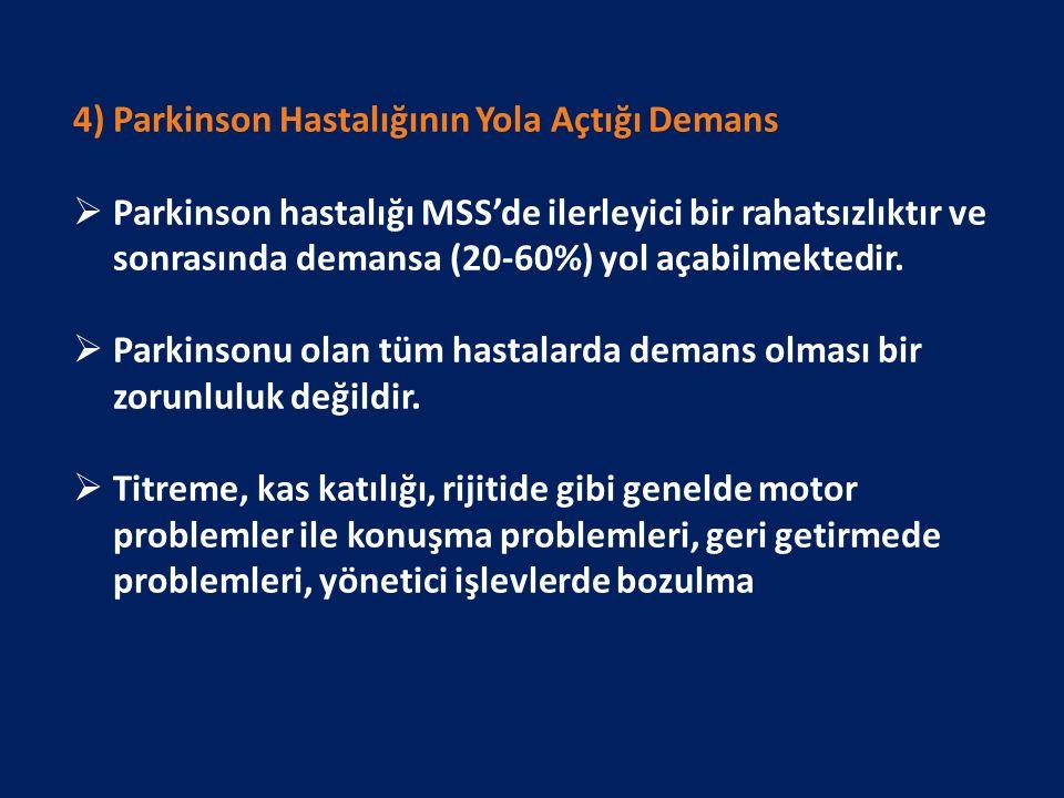 4) Parkinson Hastalığının Yola Açtığı Demans  Parkinson hastalığı MSS'de ilerleyici bir rahatsızlıktır ve sonrasında demansa (20-60%) yol açabilmektedir.