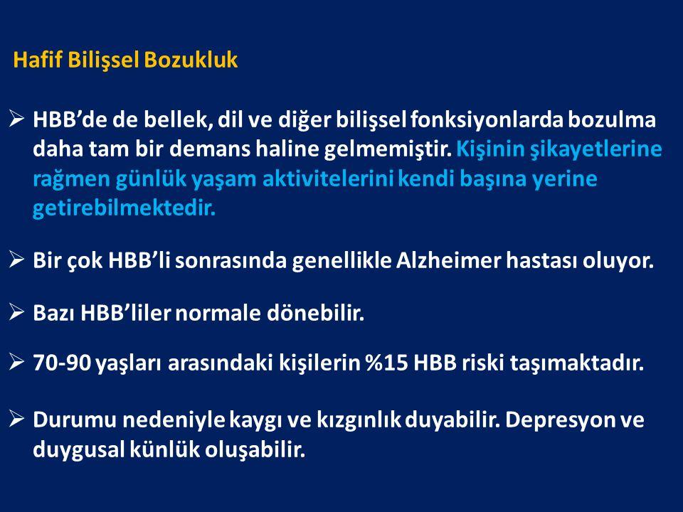 Hafif Bilişsel Bozukluk  HBB'de de bellek, dil ve diğer bilişsel fonksiyonlarda bozulma daha tam bir demans haline gelmemiştir.