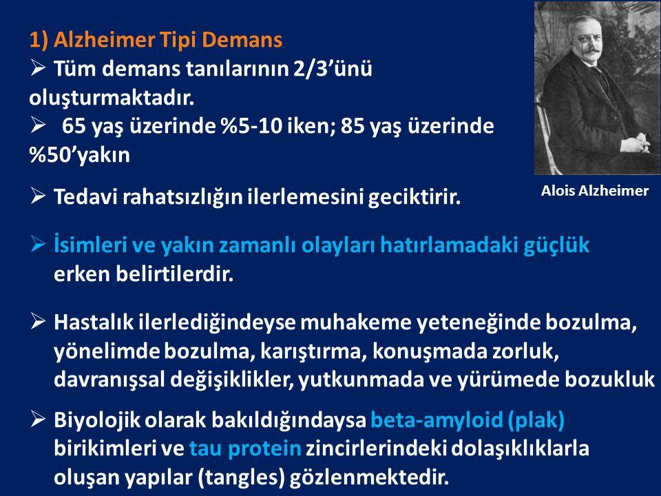 1) Alzheimer Tipi Demans  Tüm demans tanılarının 2/3'ünü oluşturmaktadır.