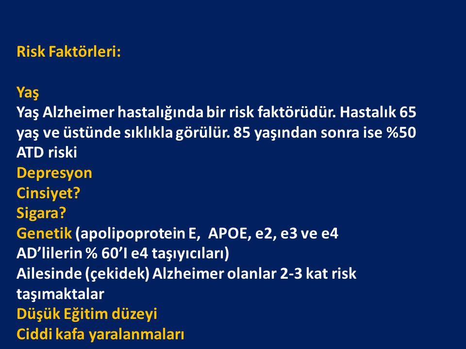 Risk Faktörleri: Yaş Yaş Alzheimer hastalığında bir risk faktörüdür.