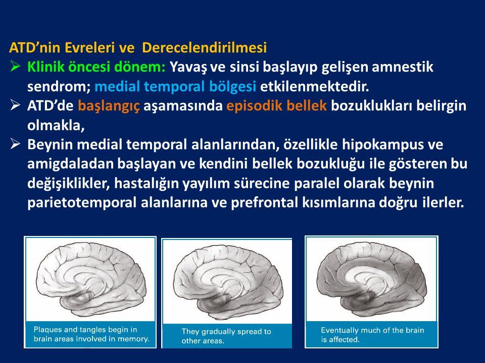 ATD'nin Evreleri ve Derecelendirilmesi  Klinik öncesi dönem: Yavaş ve sinsi başlayıp gelişen amnestik sendrom; medial temporal bölgesi etkilenmektedir.
