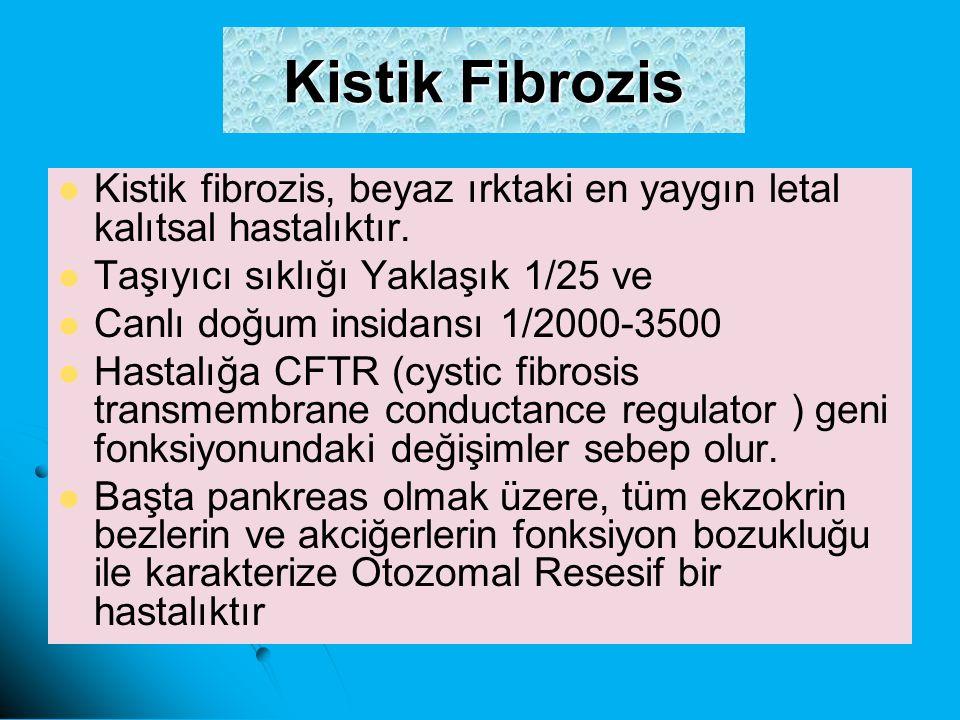 Kistik Fibrozis Kistik fibrozis, beyaz ırktaki en yaygın letal kalıtsal hastalıktır. Taşıyıcı sıklığı Yaklaşık 1/25 ve Canlı doğum insidansı 1/2000-35