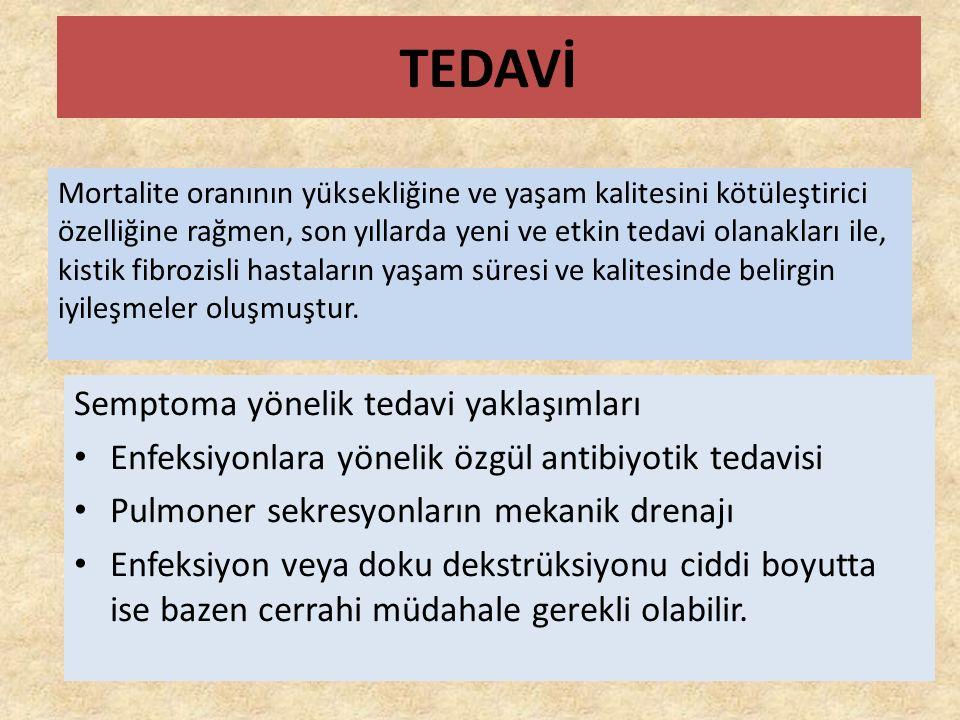 TEDAVİ Mortalite oranının yüksekliğine ve yaşam kalitesini kötüleştirici özelliğine rağmen, son yıllarda yeni ve etkin tedavi olanakları ile, kistik fibrozisli hastaların yaşam süresi ve kalitesinde belirgin iyileşmeler oluşmuştur.