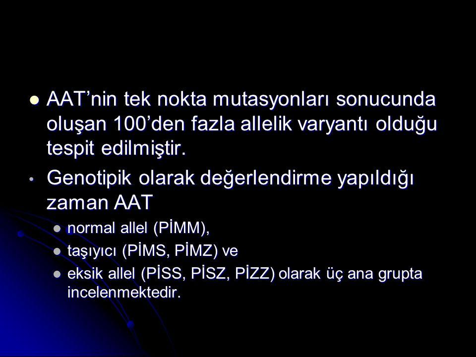 AAT'nin tek nokta mutasyonları sonucunda oluşan 100'den fazla allelik varyantı olduğu tespit edilmiştir. AAT'nin tek nokta mutasyonları sonucunda oluş