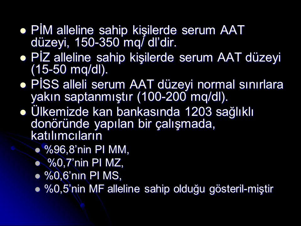 PİM alleline sahip kişilerde serum AAT düzeyi, 150-350 mq/ dl'dir. PİM alleline sahip kişilerde serum AAT düzeyi, 150-350 mq/ dl'dir. PİZ alleline sah