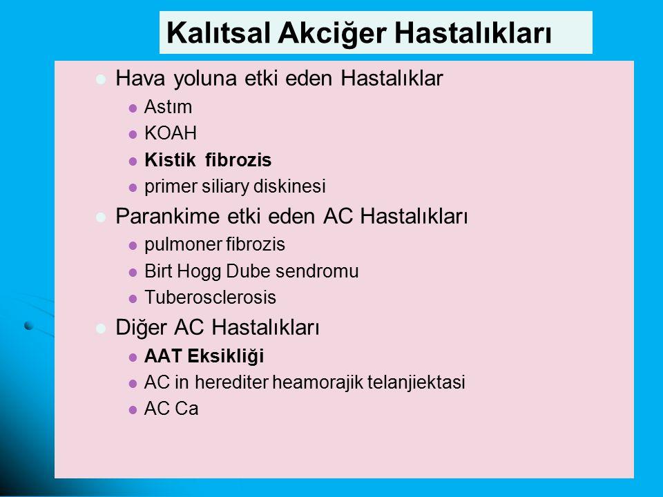 Hava yoluna etki eden Hastalıklar Astım KOAH Kistik fibrozis primer siliary diskinesi Parankime etki eden AC Hastalıkları pulmoner fibrozis Birt Hogg Dube sendromu Tuberosclerosis Diğer AC Hastalıkları AAT Eksikliği AC in herediter heamorajik telanjiektasi AC Ca Kalıtsal Akciğer Hastalıkları