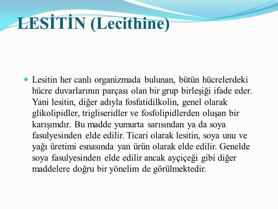 LESİTİN (Lecithine) Lesitin her canlı organizmada bulunan, bütün hücrelerdeki hücre duvarlarının parçası olan bir grup birleşiği ifade eder. Yani lesi