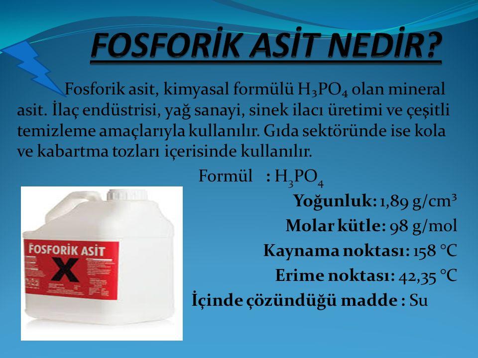 Fosforik asit, kimyasal formülü H₃PO₄ olan mineral asit. İlaç endüstrisi, yağ sanayi, sinek ilacı üretimi ve çeşitli temizleme amaçlarıyla kullanılır.