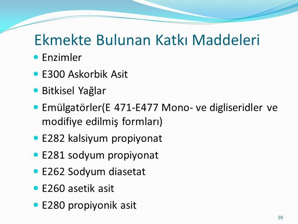 Enzimler E300 Askorbik Asit Bitkisel Yağlar Emülgatörler(E 471-E477 Mono- ve digliseridler ve modifiye edilmiş formları) E282 kalsiyum propiyonat E281