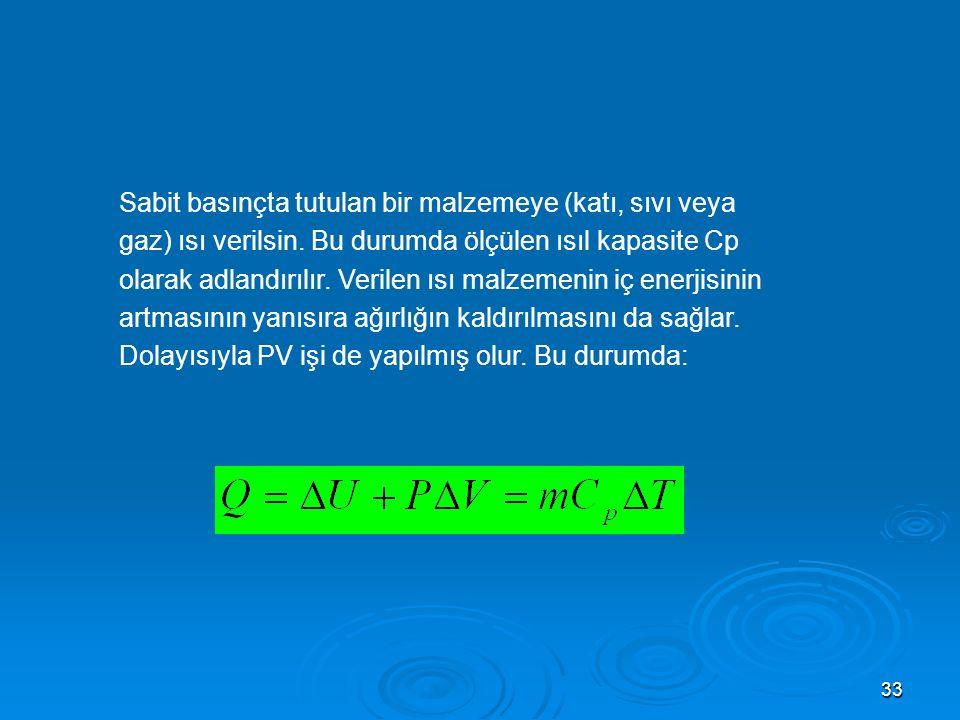 33 Sabit basınçta tutulan bir malzemeye (katı, sıvı veya gaz) ısı verilsin.