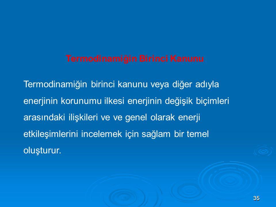 35 Termodinamiğin Birinci Kanunu Termodinamiğin birinci kanunu veya diğer adıyla enerjinin korunumu ilkesi enerjinin değişik biçimleri arasındaki ilişkileri ve ve genel olarak enerji etkileşimlerini incelemek için sağlam bir temel oluşturur.
