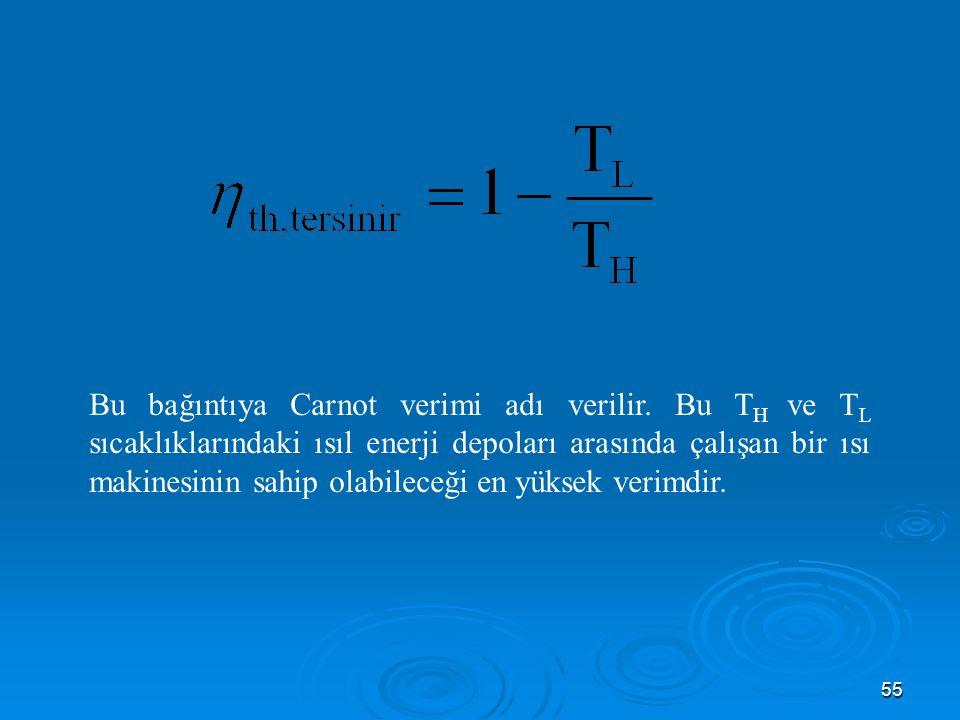 55 Bu bağıntıya Carnot verimi adı verilir.