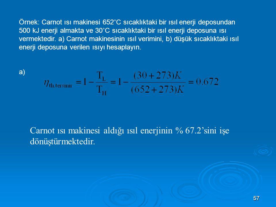 57 Örnek: Carnot ısı makinesi 652˚C sıcaklıktaki bir ısıl enerji deposundan 500 kJ enerji almakta ve 30˚C sıcaklıktaki bir ısıl enerji deposuna ısı vermektedir.
