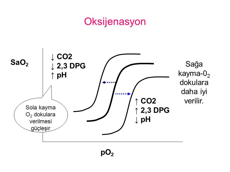 Oksijenasyon ↑ CO2 ↑ 2,3 DPG ↓ pH ↓ CO2 ↓ 2,3 DPG ↑ pH SaO 2 pO 2 Sağa kayma-0 2 dokulara daha iyi verilir. Sola kayma O 2 dokulara verilmesi güçleşir