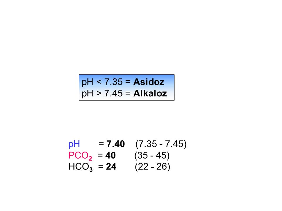 pH = 7.40 (7.35 - 7.45) PCO 2 = 40 (35 - 45) HCO 3 = 24 (22 - 26) pH < 7.35 = Asidoz pH > 7.45 = Alkaloz