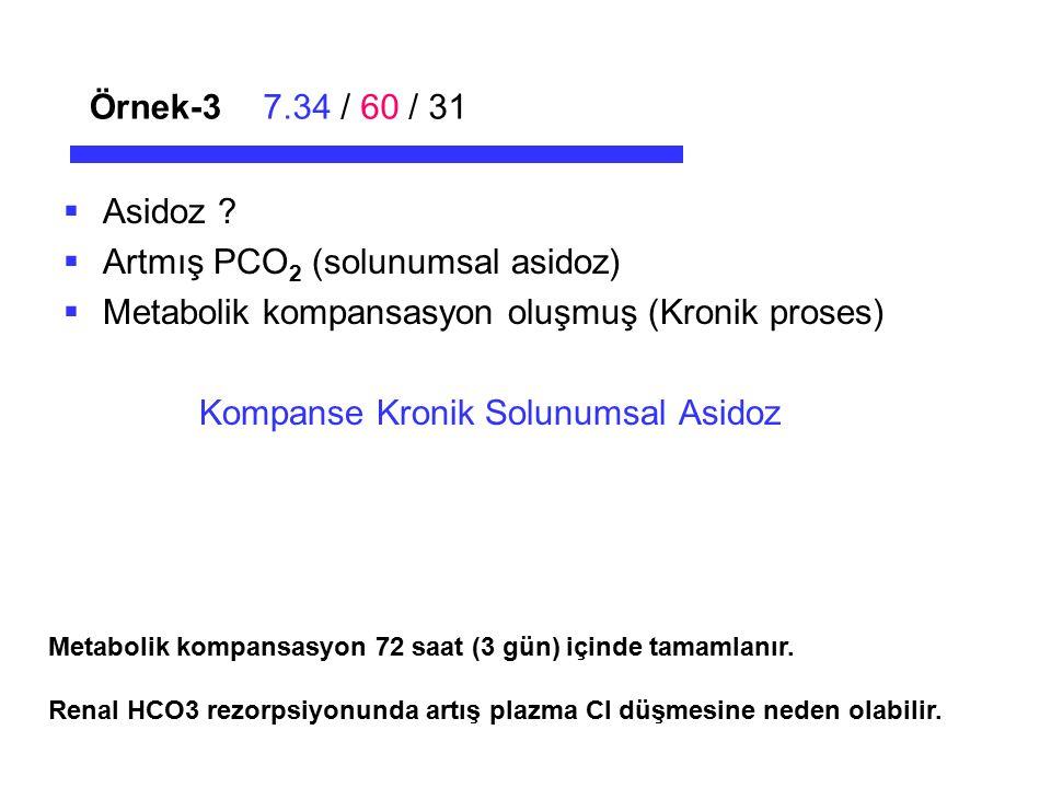 Örnek-37.34 / 60 / 31  Asidoz ?  Artmış PCO 2 (solunumsal asidoz)  Metabolik kompansasyon oluşmuş (Kronik proses) Kompanse Kronik Solunumsal Asidoz