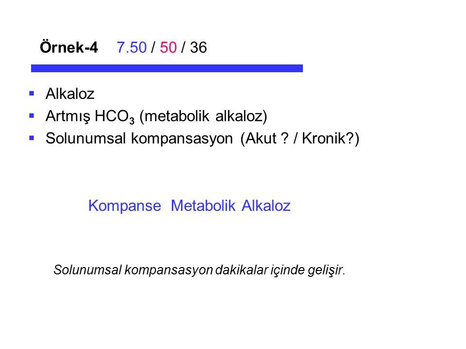 Örnek-47.50 / 50 / 36  Alkaloz  Artmış HCO 3 (metabolik alkaloz)  Solunumsal kompansasyon (Akut ? / Kronik?) Kompanse Metabolik Alkaloz Solunumsal