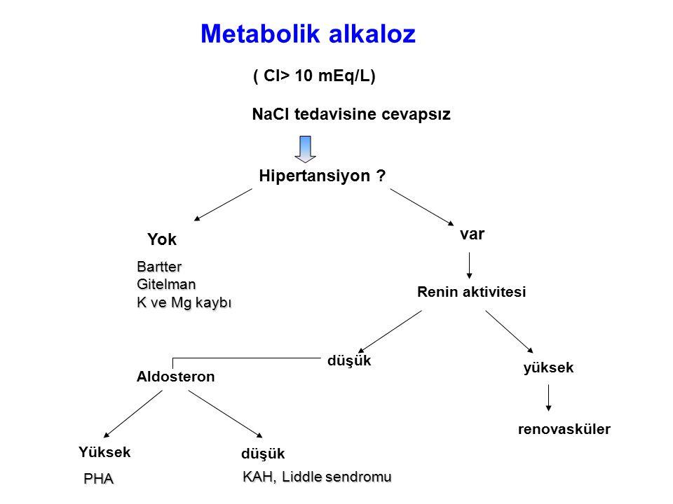 ( Cl> 10 mEq/L) NaCl tedavisine cevapsız Hipertansiyon ? Yok BartterGitelman K ve Mg kaybı var Renin aktivitesi düşük yüksek renovasküler Aldosteron Y