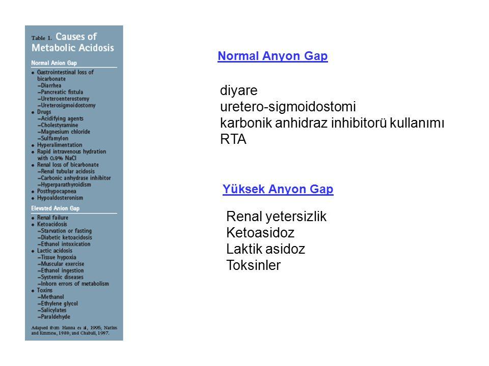 Normal Anyon Gap diyare uretero-sigmoidostomi karbonik anhidraz inhibitorü kullanımı RTA Yüksek Anyon Gap Renal yetersizlik Ketoasidoz Laktik asidoz T