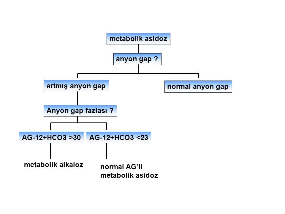 metabolik asidoz anyon gap ? artmış anyon gap normal anyon gap Anyon gap fazlası ? AG-12+HCO3 >30AG-12+HCO3 <23 metabolik alkaloz normal AG'li metabol