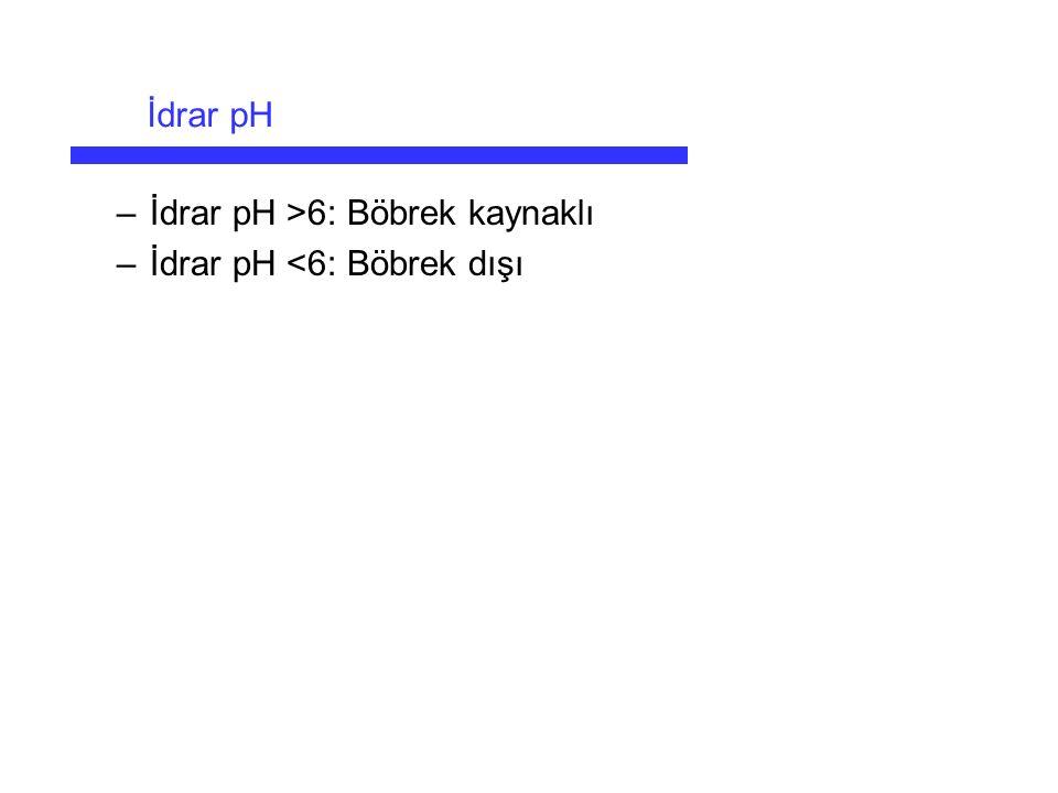 –İdrar pH >6: Böbrek kaynaklı –İdrar pH <6: Böbrek dışı İdrar pH