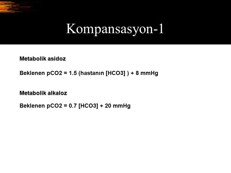 Kompansasyon-1 Metabolik asidoz Beklenen pCO2 = 1.5 (hastanın [HCO3] ) + 8 mmHg Beklenen pCO2 = 0.7 [HCO3] + 20 mmHg Metabolik alkaloz