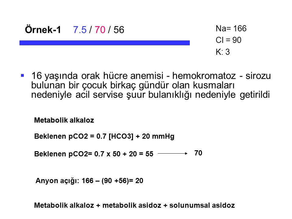 Örnek-17.5 / 70 / 56  16 yaşında orak hücre anemisi - hemokromatoz - sirozu bulunan bir çocuk birkaç gündür olan kusmaları nedeniyle acil servise şuu