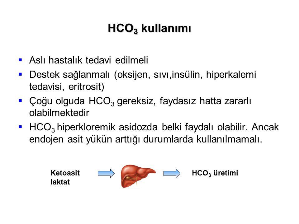 HCO 3 kullanımı  Aslı hastalık tedavi edilmeli  Destek sağlanmalı (oksijen, sıvı,insülin, hiperkalemi tedavisi, eritrosit)  Çoğu olguda HCO 3 gerek