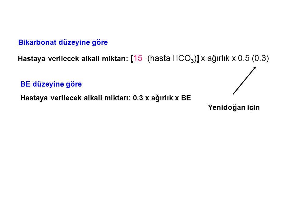 Hastaya verilecek alkali miktarı: [15 -(hasta HCO 3 )] x ağırlık x 0.5 (0.3) Yenidoğan için Hastaya verilecek alkali miktarı: 0.3 x ağırlık x BE Bikar
