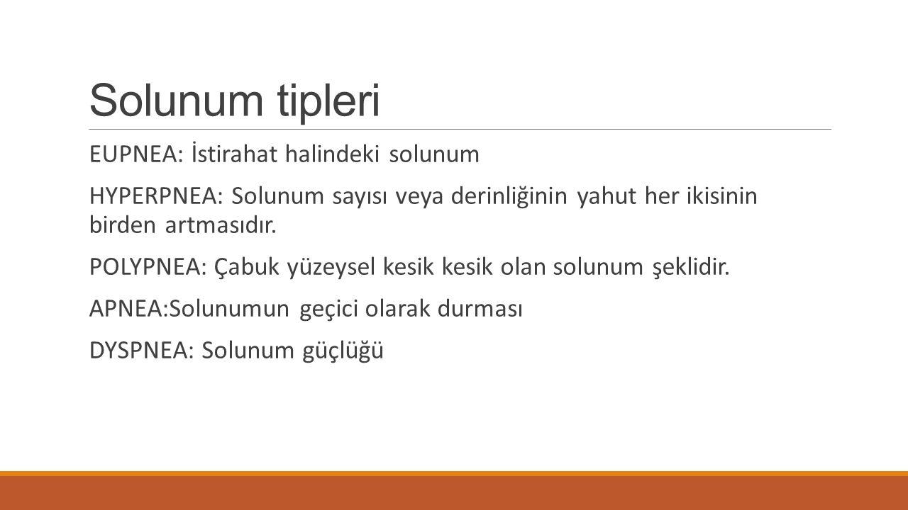 Solunum tipleri EUPNEA: İstirahat halindeki solunum HYPERPNEA: Solunum sayısı veya derinliğinin yahut her ikisinin birden artmasıdır.