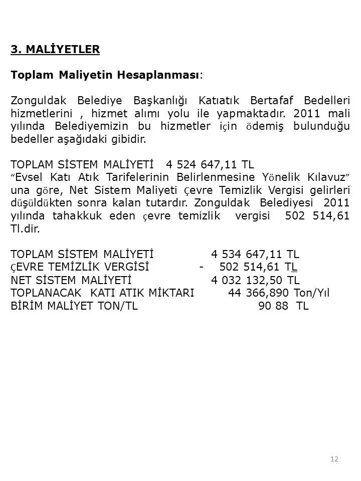3. MALİYETLER Toplam Maliyetin Hesaplanması: Zonguldak Belediye Başkanlığı Katıatık Bertafaf Bedelleri hizmetlerini, hizmet alımı yolu ile yapmaktadır