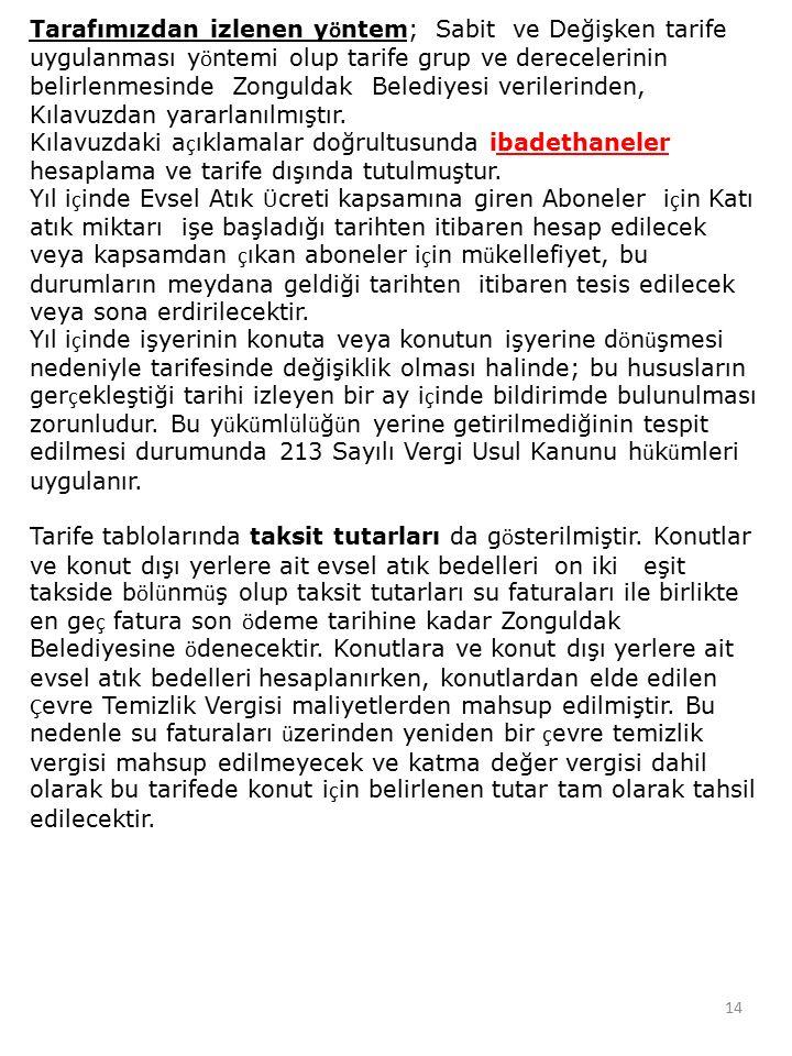 Tarafımızdan izlenen y ö ntem; Sabit ve Değişken tarife uygulanması y ö ntemi olup tarife grup ve derecelerinin belirlenmesinde Zonguldak Belediyesi v