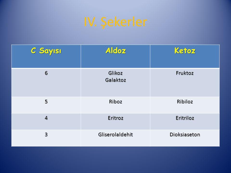 C Sayısı AldozKetoz 6GlikozGalaktozFruktoz 5RibozRibiloz 4EritrozEritriloz 3GliserolaldehitDioksiaseton