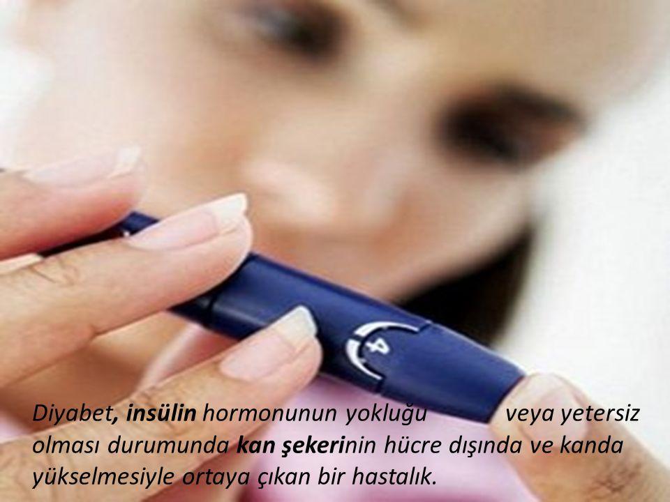 Diyabet, insülin hormonunun yokluğu veya yetersiz olması durumunda kan şekerinin hücre dışında ve kanda yükselmesiyle ortaya çıkan bir hastalık.