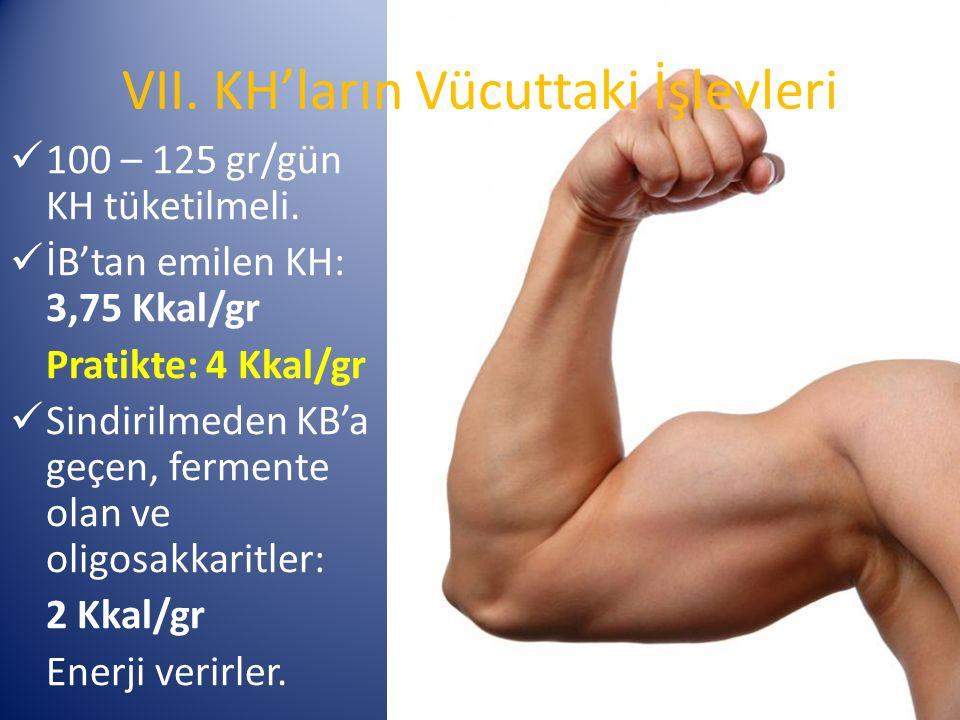 VII. KH'ların Vücuttaki İşlevleri 100 – 125 gr/gün KH tüketilmeli.
