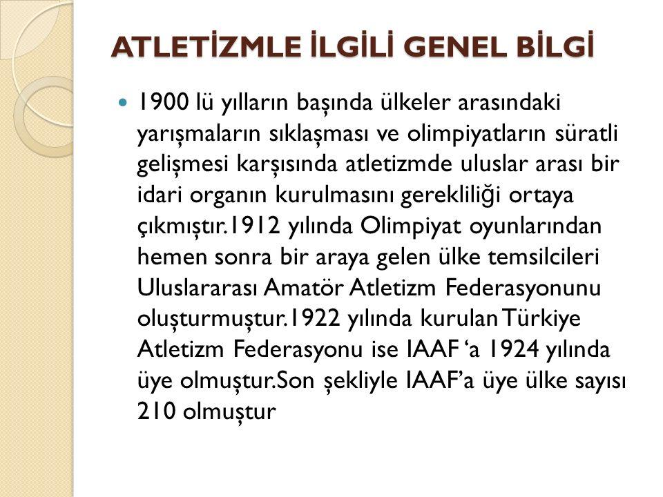 ATLET İ ZMLE İ LG İ L İ GENEL B İ LG İ 1900 lü yılların başında ülkeler arasındaki yarışmaların sıklaşması ve olimpiyatların süratli gelişmesi karşısı