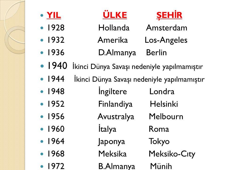 YIL ÜLKE ŞEH İ R 1928 Hollanda Amsterdam 1932 Amerika Los-Angeles 1936 D.Almanya Berlin 1940 İ kinci Dünya Savaşı nedeniyle yapılmamıştır 1944 İ kinci