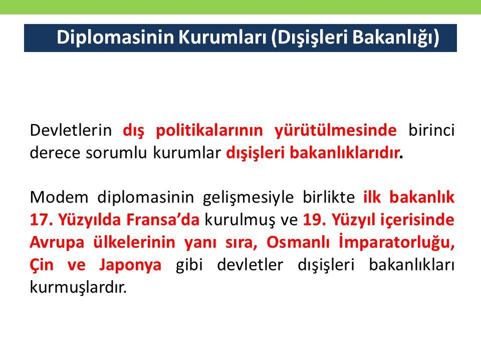 Diplomasinin Kurumları (Dışişleri Bakanlığı) Devletlerin dış politikalarının yürütülmesinde birinci derece sorumlu kurumlar dışişleri bakanlıklarıdır