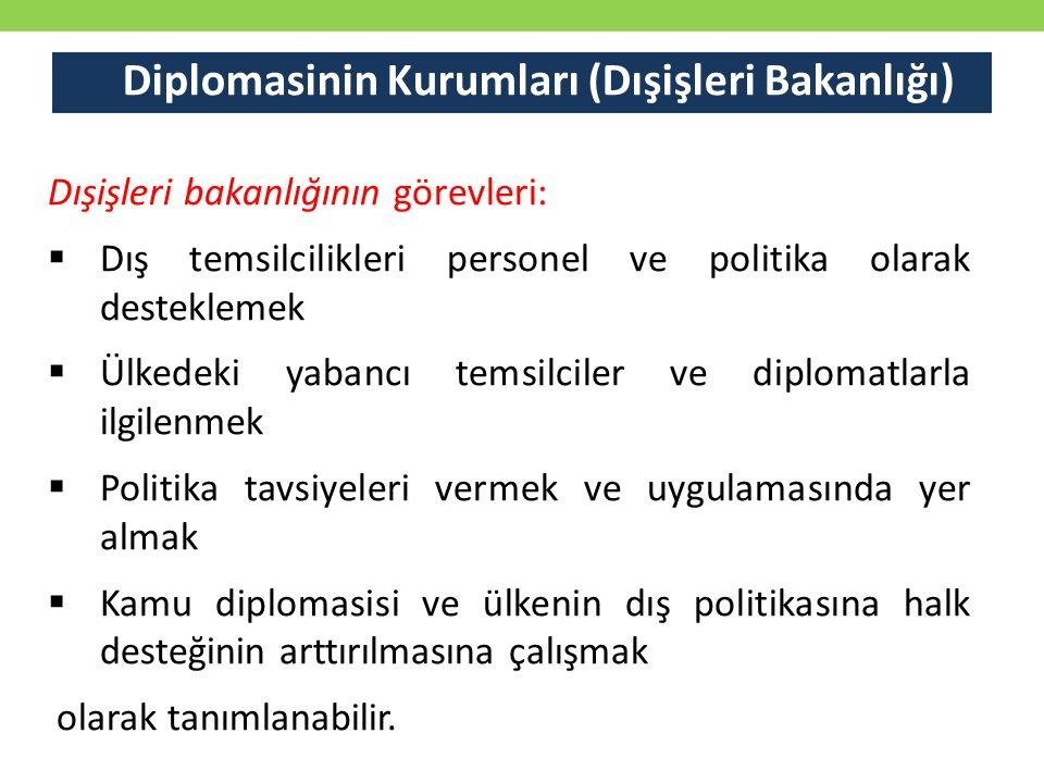 Diplomasinin Kurumları (Dışişleri Bakanlığı) Dışişleri bakanlığının görevleri:  Dış temsilcilikleri personel ve politika olarak desteklemek  Ülkede