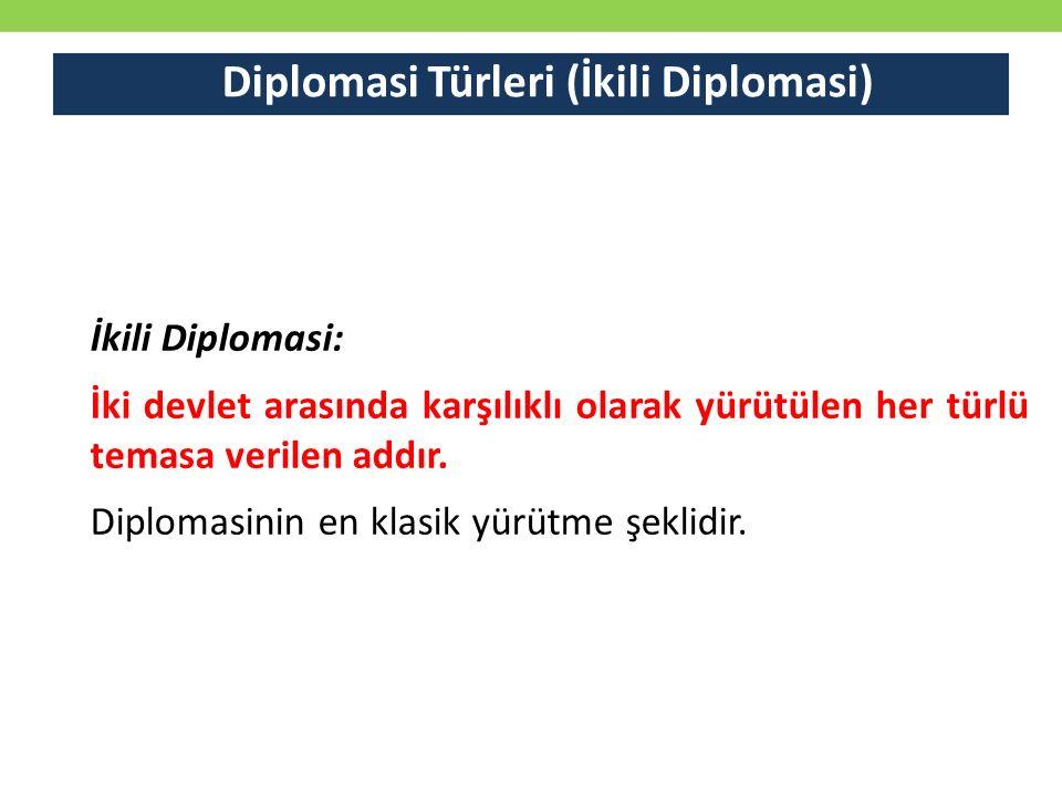 Diplomasi Türleri (İkili Diplomasi) İkili Diplomasi: İki devlet arasında karşılıklı olarak yürütülen her türlü temasa verilen addır. Diplomasinin en