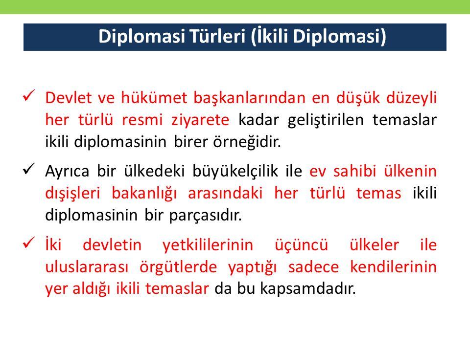Diplomasi Türleri (İkili Diplomasi) Devlet ve hükümet başkanlarından en düşük düzeyli her türlü resmi ziyarete kadar geliştirilen temaslar ikili dipl