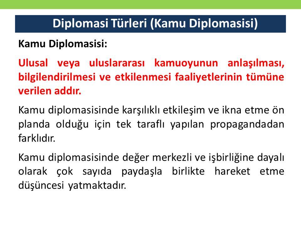Diplomasi Türleri (Kamu Diplomasisi) Kamu Diplomasisi: Ulusal veya uluslararası kamuoyunun anlaşılması, bilgilendirilmesi ve etkilenmesi faaliyetleri