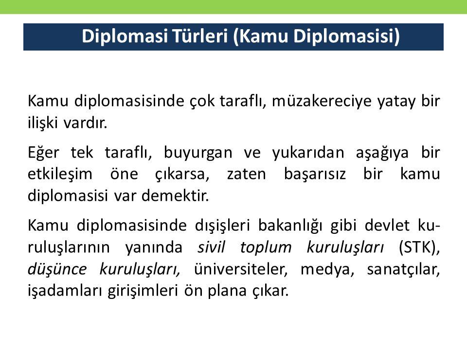 Diplomasi Türleri (Kamu Diplomasisi) Kamu diplomasisinde çok taraflı, müzakereciye yatay bir ilişki vardır. Eğer tek taraflı, buyurgan ve yukarıdan aş