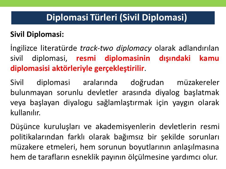 Diplomasi Türleri (Sivil Diplomasi) Sivil Diplomasi: İngilizce literatürde track-two diplomacy olarak adlandırılan sivil diplomasi, resmi diplomasini