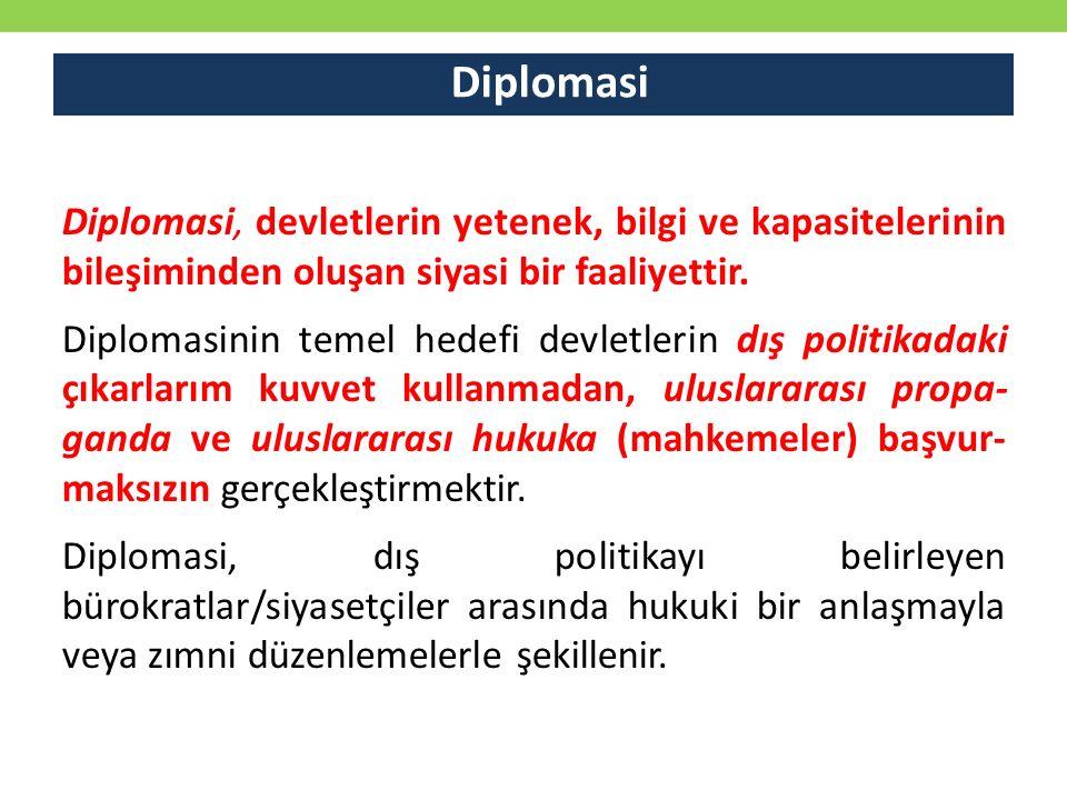 Diplomasi Diplomasi, devletlerin yetenek, bilgi ve kapasitelerinin bileşiminden oluşan siyasi bir faaliyettir. Diplomasinin temel hedefi devletlerin